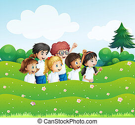 Six playful kids at the hill - Illustration of the six...