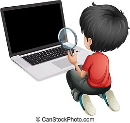 A boy in front of a laptop holding a magnifying lens -...