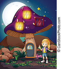 A cute girl standing beside the magical mushroom house -...