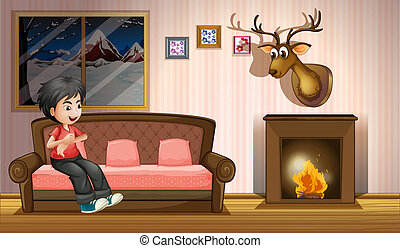 A boy sitting at the sofa near the fireplace - Illustration...