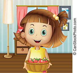 A girl with a basket of berries inside the house