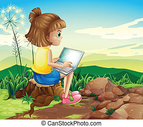 A girl surfing the net while sitting above a stump -...