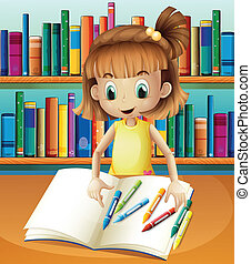 Illustration of a girl with her empty notebook and crayons standing in front of the bookshelves