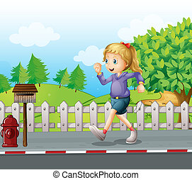 A girl jogging at the street - Illustration of a girl...