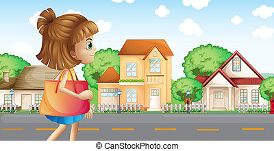 A girl walking across the neighborhood - Illustration of a...