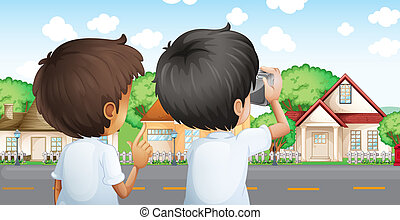 Two young men with a camera