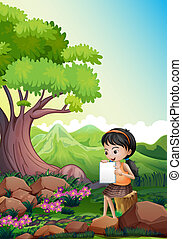 A girl doing her assignment outdoor - Illustration of a girl...