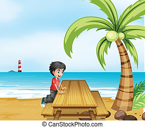A boy at the beach with a wooden table near the coconut tree...