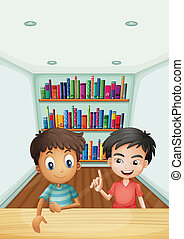 Two boys in front of the bookshelves with books -...