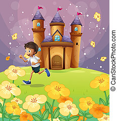 A boy playing in front of the castle - Illustration of a boy...