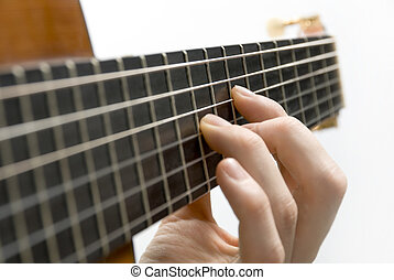 Guitar player\\\'s left hand - Classical guitar\\\'s...