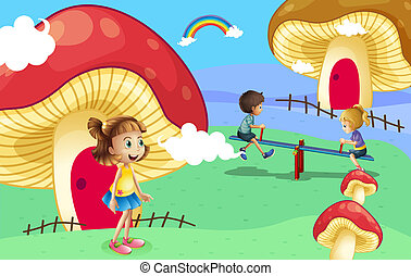 Kids playing near the giant mushroom houses - Illustration...