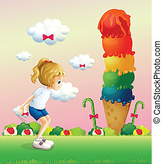 A girl in a jumping position near the giant icecream -...