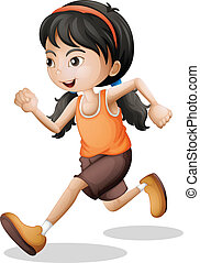 A teenager jogging - Illustration of a teenager jogging on a...
