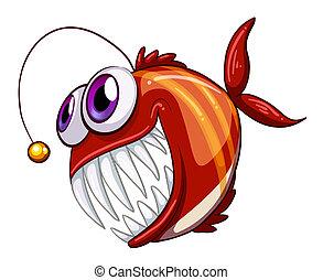 un, feo, enojado, pez