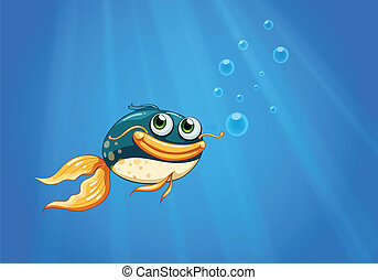 A fish with a big mouth under the ocean - Illustration of a...