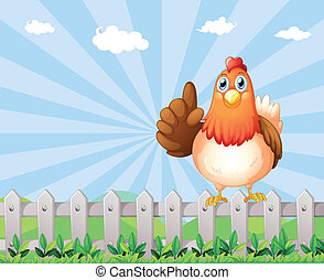 A big fat hen above the fence - Illustration of a big fat...