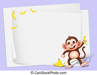 Empty papers with a monkey and bananas - Illustration of the...