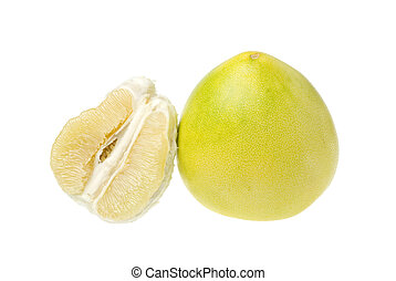 Pomelo on white - A whole and an open Pomelo isolated on...