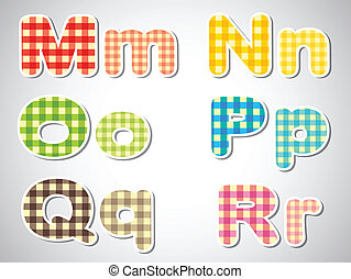 Six checkered letters of the alphabet - Illustration of the...