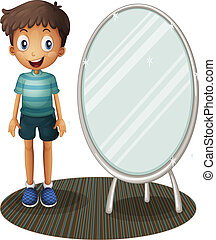 A boy standing beside the mirror - Illustration of a boy...