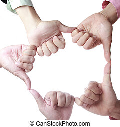 Team work hand concept with white background