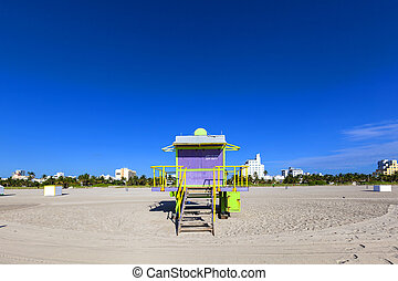 Lifeguard cabin on empty beach, Miami Beach, Florida, USA, safety concept.