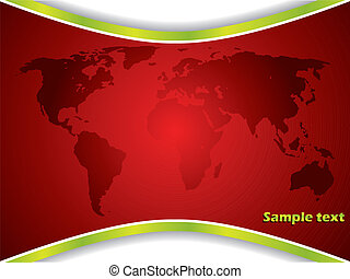 Red map backdrop with green lines