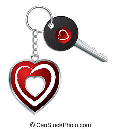 Heart design key with keychain and keyholder - Red heart...