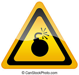 Bomb warning sign isolated on white