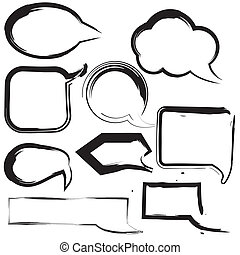 speech balloon grunge brush stroke vector hand paint - Set...