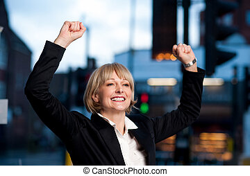 Successful attractive businesswoman - Excited successful...