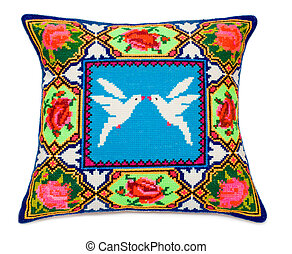 decorative pattern - childs embroidered pillow with a...