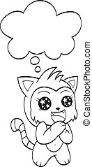 Cute cat with speech bubble - An illustration of a cute cat...