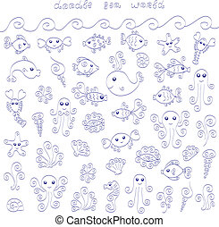 Doodle sea world - A collection of cute doodle sea animals...