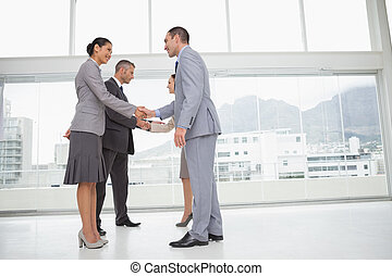 Business people meeting shaking hands - Business people...