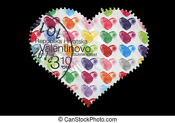 CROATIA - CIRCA 2012: stamp printed by Croatia shows heart,...