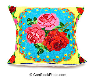 embroidered pillow - childs embroidered pillow with a...