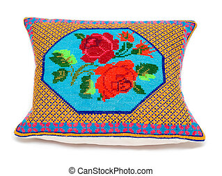 Ukrainian pillow - little embroidered pillow with the...
