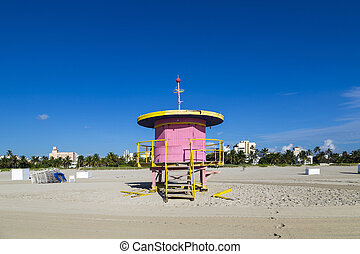 Lifeguard cabin on empty beach, Miami Beach, Florida, USA,...