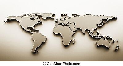 värld, 3,  render, karta