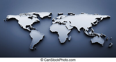 world map - 3d render world map on blue background