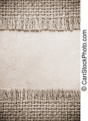burlap hessian sacking on metal background