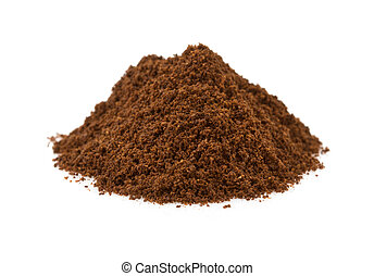 coffee grounds on white background - coffee grounds isolated...