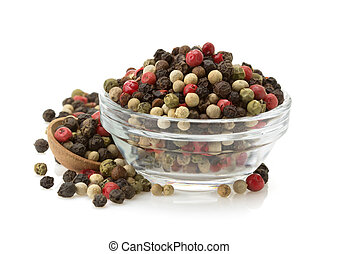 pepper spices in bowl isolated on white background