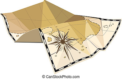 folded map with wind rose