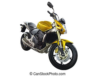 yellow motorbike isolated