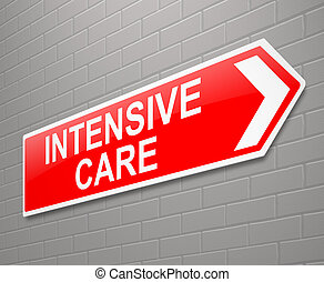 Intensive care sign. - Illustration depicting a sign with an...