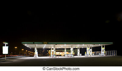 Gas station at night - Empty gas station at night