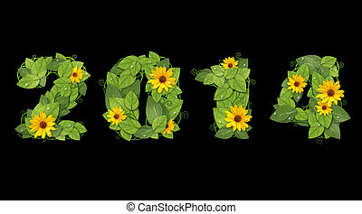 New year 2014. Date lined green leaves and flower. - New...